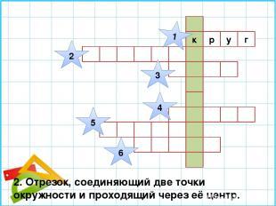 г к р у 1 2 3 4 5 6 2. Отрезок, соединяющий две точки окружности и проходящий че