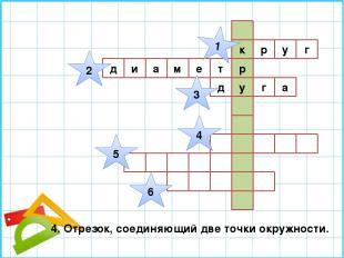 г к р у р м е т у д и а а г д 1 2 3 4 5 6 4. Отрезок, соединяющий две точки окру