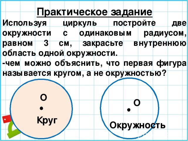 Практическое задание Используя циркуль постройте две окружности с одинаковым радиусом, равном 3 см, закрасьте внутреннюю область одной окружности. -чем можно объяснить, что первая фигура называется кругом, а не окружностью? O O Круг Окружность
