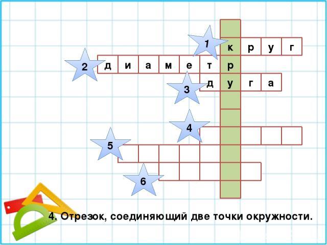 г к р у р м е т у д и а а г д 1 2 3 4 5 6 4. Отрезок, соединяющий две точки окружности.