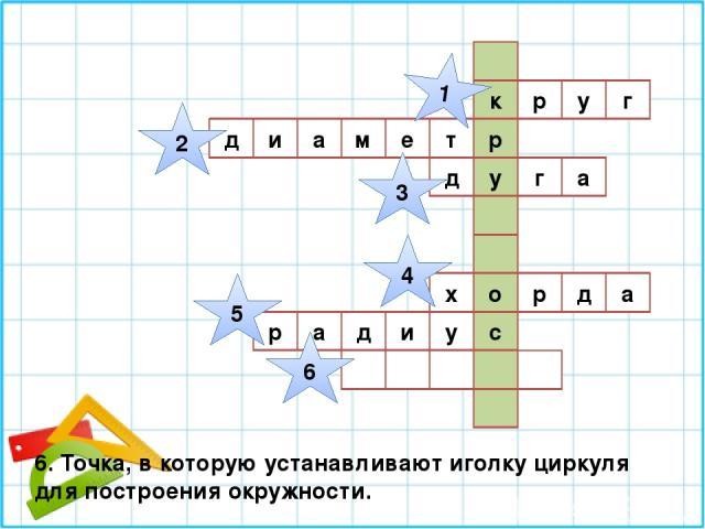 г к р у р м е т у д и а а г д а д р х о р а д и у с 1 2 3 4 5 6 6. Точка, в которую устанавливают иголку циркуля для построения окружности.
