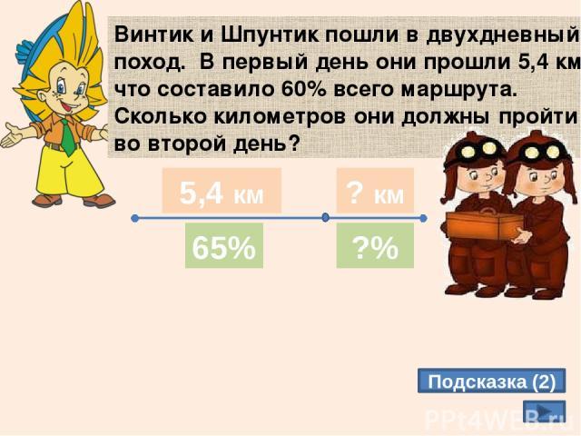 Винтик и Шпунтик пошли в двухдневный поход. В первый день они прошли 5,4 км, что составило 60% всего маршрута. Сколько километров они должны пройти во второй день? Подсказка (2) 65% ?% 1 день 2 день 5,4 км ? км