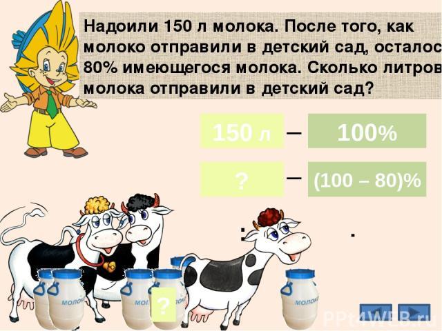 Надоили 150 л молока. После того, как молоко отправили в детский сад, осталось 80% имеющегося молока. Сколько литров молока отправили в детский сад? 20% ? 30 л 150 л ? 100% (100 – 80)% _ _ 150 л 100% : ·
