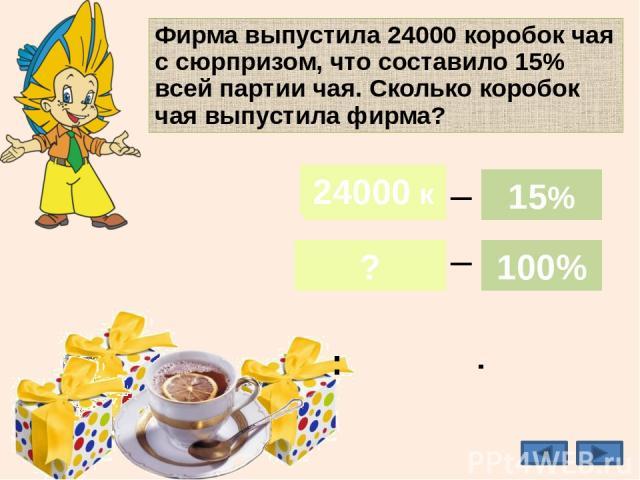 Фирма выпустила 24000 коробок чая с сюрпризом, что составило 15% всей партии чая. Сколько коробок чая выпустила фирма? 160000к 24000 к ? 15% 100% _ _ 24000 к 15% 100% : ·