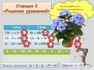 Решите уравнения и отгадайте зашифрованное слово – любимое комнатное растение Ша