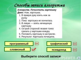 Способы записи алгоритма Выберите способ записи графический словесный программны