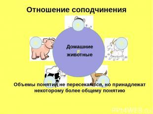 Отношение соподчинения F А С D E Домашние животные В Объемы понятий не пересекаю