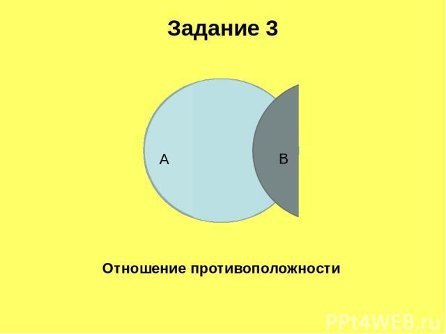 Задание 3 Отношение противоположности А В
