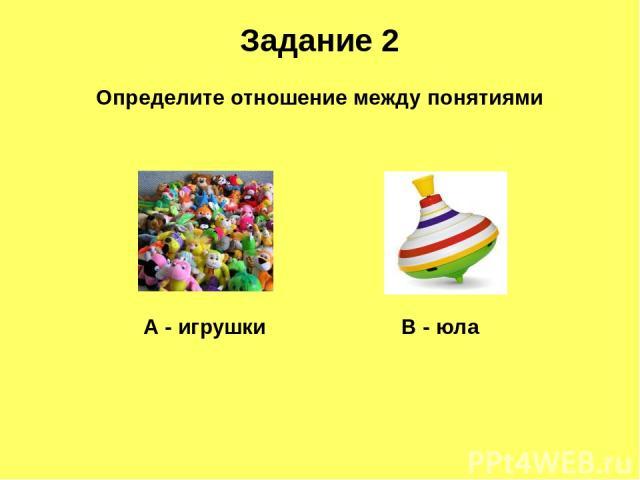 Задание 2 Определите отношение между понятиями А - игрушки В - юла