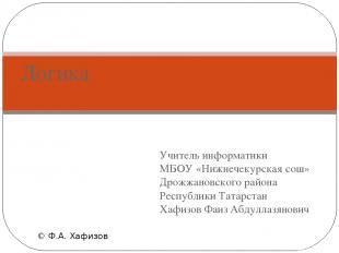 Учитель информатики МБОУ «Нижнечекурская сош» Дрожжановского района Республики Т