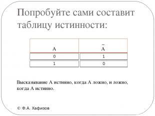 Попробуйте сами составит таблицу истинности: © Ф.А. Хафизов Высказывание А истин
