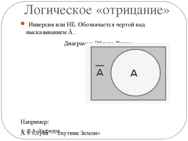 Логическое «отрицание» © Ф.А. Хафизов Инверсия или НЕ. Обозначается чертой над высказыванием Ā . Диаграмма Эйлера-Венна: Например: А = «Луна — спутник Земли» Ā =