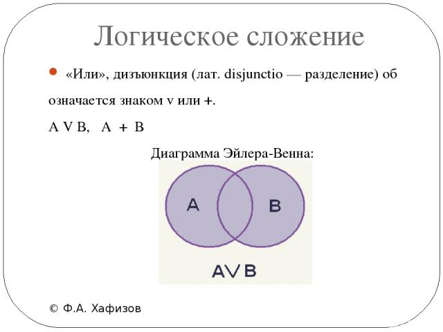 Логическое сложение © Ф.А. Хафизов «Или», дизъюнкция (лат. disjunctio — разделение) об означается знаком v или +. А V В, А + В Диаграмма Эйлера-Венна: