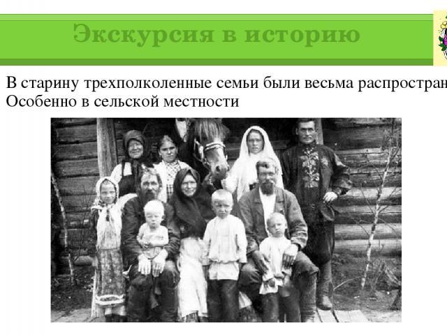 Экскурсия в историю В старину трехполколенные семьи были весьма распространены. Особенно в сельской местности