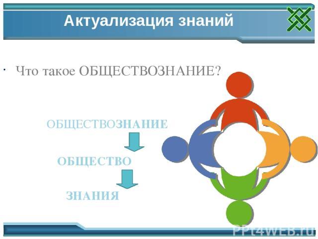 Актуализация знаний Что такое ОБЩЕСТВОЗНАНИЕ? ОБЩЕСТВО ЗНАНИЯ ОБЩЕСТВОЗНАНИЕ Актуализация знаний