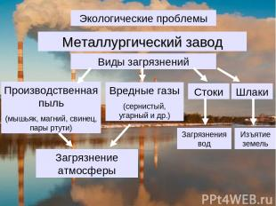 Экологические проблемы Виды загрязнений Производственная пыль (мышьяк, магний, с