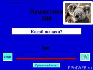 Нет Косой ли заяц? Пушистики 200 0 30 60 старт Правильный ответ Автор Семенова Н