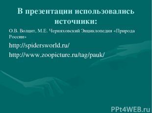 В презентации использовались источники: О.В. Волцит, М.Е. Черняховский Энциклопе