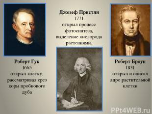 Роберт Броун 1831 открыл и описал ядро растительной клетки Джозеф Пристли 1771 о