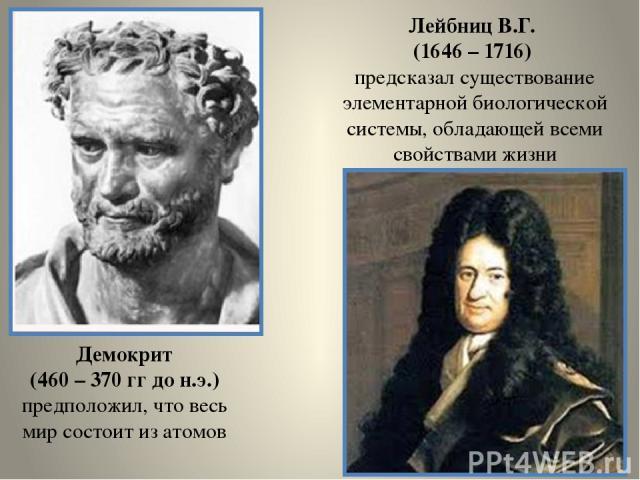 Демокрит (460 – 370 гг до н.э.) предположил, что весь мир состоит из атомов Лейбниц В.Г. (1646 – 1716) предсказал существование элементарной биологической системы, обладающей всеми свойствами жизни