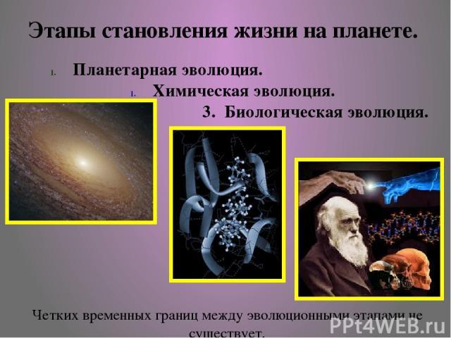 Планетарная эволюция. Химическая эволюция. 3. Биологическая эволюция. Этапы становления жизни на планете. Четких временных границ между эволюционными этапами не существует.
