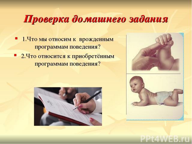 Проверка домашнего задания 1.Что мы относим к врожденным программам поведения? 2.Что относится к приобретённым программам поведения?