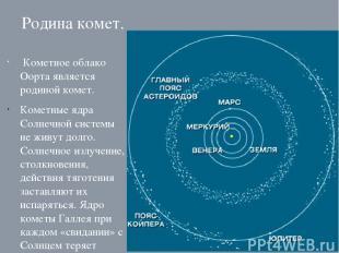Родина комет. Кометное облако Оорта является родиной комет. Кометные ядра Солнеч
