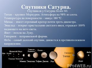 Спутники Сатурна. Спутников у Сатурна более 60. Титан – крупнее Меркурия. Атмосф