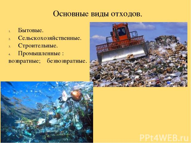 Основные виды отходов. Бытовые. Сельскохозяйственные. Строительные. Промышленные : возвратные; безвозвратные.