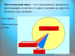 Митотический цикл – это совокупность процессов, протекающих в клетке от одного д