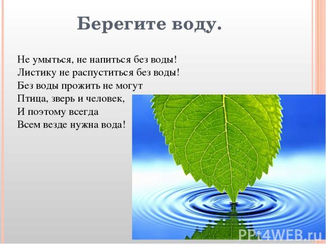 Берегите воду. Не умыться, не напиться без воды! Листику не распуститься без воды! Без воды прожить не могут Птица, зверь и человек, И поэтому всегда Всем везде нужна вода!