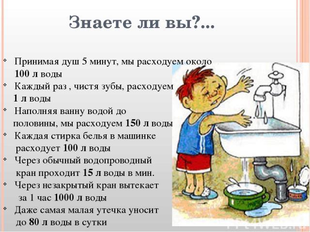 Знаете ли вы?... Принимая душ 5 минут, мы расходуем около 100 л воды Каждый раз , чистя зубы, расходуем 1 л воды Наполняя ванну водой до половины, мы расходуем 150 л воды Каждая стирка белья в машинке расходует 100 л воды Через обычный водопроводный…