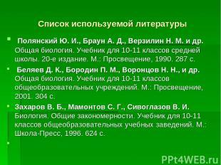 Список используемой литературы Полянский Ю. И., Браун А. Д., Верзилин Н. М. и др