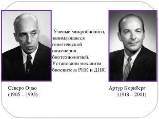 Артур Корнберг (1918 – 2001) Северо Очао (1905 – 1993) Ученые микробиологи, зани