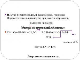 Энергетический обмен. II. Этап бескислородный (анаэробный, гликолиз). Осуществля