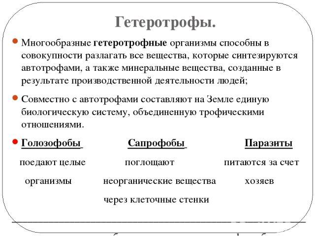 Гетеротрофы. Многообразные гетеротрофные организмы способны в совокупности разлагать все вещества, которые синтезируются автотрофами, а также минеральные вещества, созданные в результате производственной деятельности людей; Совместно с автотрофами с…