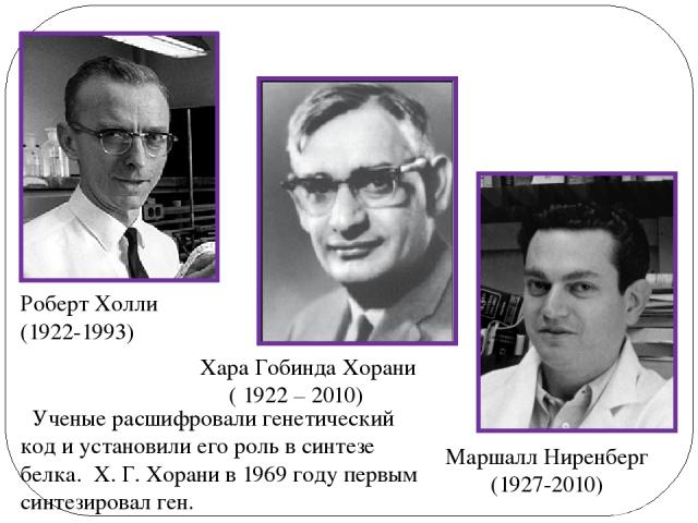 Маршалл Ниренберг (1927-2010) Роберт Холли (1922-1993) Хара Гобинда Хорани ( 1922 – 2010) Ученые расшифровали генетический код и установили его роль в синтезе белка. Х. Г. Хорани в 1969 году первым синтезировал ген.