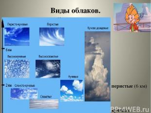 Виды облаков. перистые (6 км) кучевые (от 2 до 6 км.) слоистые ( от 0,5до 2 км.)