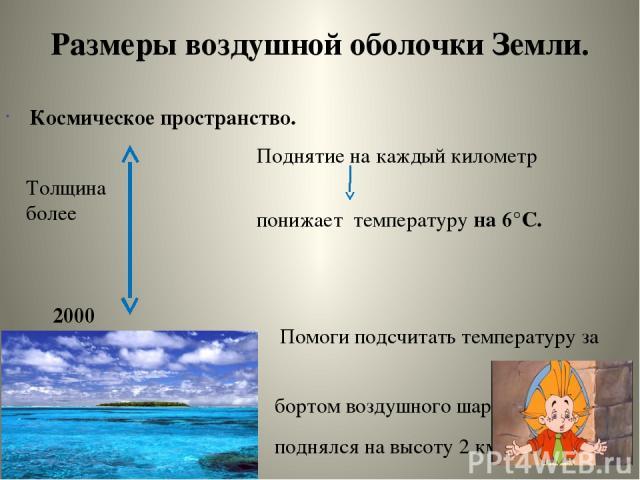 Размеры воздушной оболочки Земли. Космическое пространство. Поднятие на каждый километр понижает температуру на 6°С. Помоги подсчитать температуру за бортом воздушного шара, если он поднялся на высоту 2 км. При старте на почве температура была 20°С.…