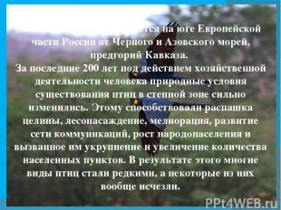 Степная зона протягивается на юге Европейской части России от Черного иАзовског