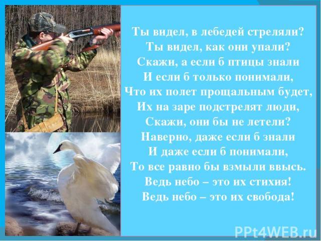 Ты видел, в лебедей стреляли? Ты видел, как они упали? Скажи, а если б птицы знали И если б только понимали, Что их полет прощальным будет, Их на заре подстрелят люди, Скажи, они бы не летели? Наверно, даже если б знали И даже если б понимали, То вс…