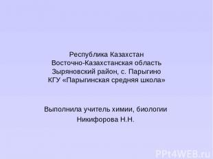 Республика Казахстан Восточно-Казахстанская область Зыряновский район, с. Парыги