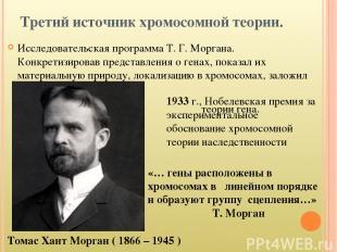 Третий источник хромосомной теории. Исследовательская программа Т. Г. Моргана. К
