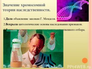 Значение хромосомной теории наследственности. 1.Дала объяснение законам Г. Менде