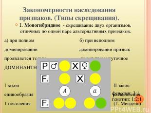 Закономерности наследования признаков. (Типы скрещивания). I. Моногибридное - ск