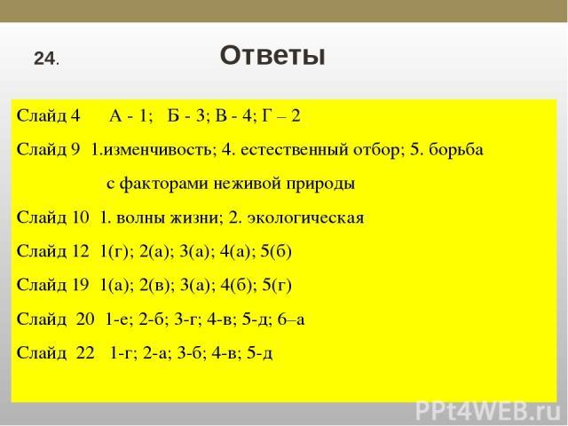24. Ответы Слайд 4 А - 1; Б - 3; В - 4; Г – 2 Слайд 9 1.изменчивость; 4. естественный отбор; 5. борьба с факторами неживой природы Слайд 10 1. волны жизни; 2. экологическая Слайд 12 1(г); 2(а); 3(а); 4(а); 5(б) Слайд 19 1(а); 2(в); 3(а); 4(б); 5(г) …