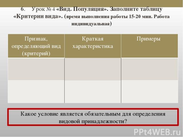 6. Урок № 4 «Вид. Популяция». Заполните таблицу «Критерии вида». (время выполнения работы 15-20 мин. Работа индивидуальная) Какое условие является обязательным для определения видовой принадлежности? Признак, определяющий вид (критерий) Краткая хара…