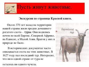 Пусть живут животные. Экскурсия по страница Красной книги. Около 370 лет назад н