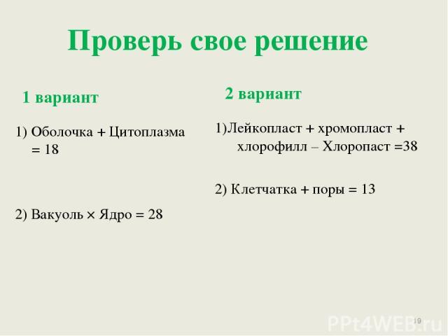 Проверь свое решение 1 вариант 2 вариант 1) Оболочка + Цитоплазма = 18 2) Вакуоль × Ядро = 28 1)Лейкопласт + хромопласт + хлорофилл – Хлоропаст =38 2) Клетчатка + поры = 13 *