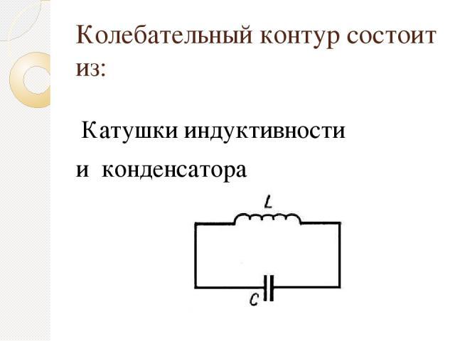 Колебательный контур состоит из: Катушки индуктивности и конденсатора